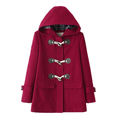 Elonglin -  Cappotto - Montgomery - Basic - Con bottoni - Maniche lunghe - Donna Rouge Vineux X-Large