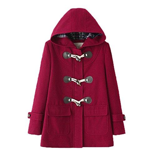 Elonglin Mid-Long Femme Manteaux à Capuche Duffle coat Hiver Chaud en Drap Blouson Bouton Corne Hoodie Veste Casual Outwear Coat Automne Hiver Slim Fit Taille FR 38 (Asian S) Rouge Vineux Avec Doublure