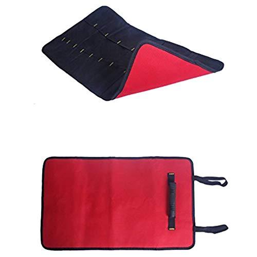 38Taschen Werkzeug Rolle Werkzeug Tasche Zange Schlüssel Tasche Mehrzweck zusammenklappen tragbar tragen Robuster Canvas Tote Elektriker Garden Tools Organizer, rot - Robuste Canvas Taschen