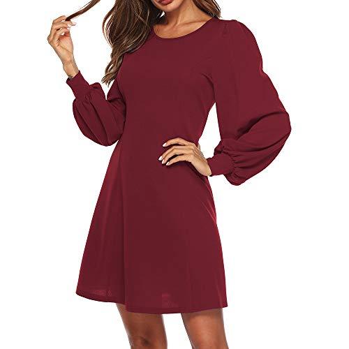 (Partykleid Damen Elegantes Resplend Mode Puffärmel Kleid Einfarbig Schlichtes Minikleid Rundhals A-Linie Abendkleid Lange Ärmel Dress)