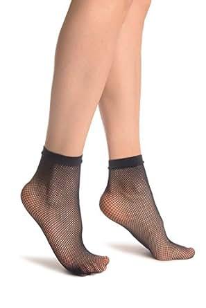 Dark Blue Fishnet Ankle High Socks - Blau Socken Einheitsgroesse (37-42)