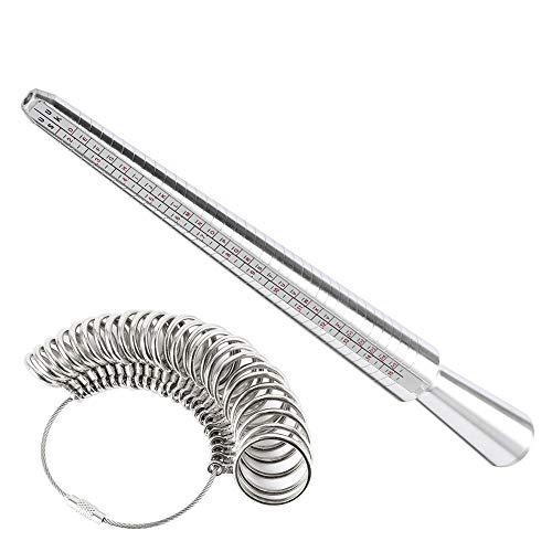 omufipw Ringgrößenmesser Dorn Fingermessgerät Messwaage Schmuckset Werkzeuge Messringe Durchmesser A-Z GB