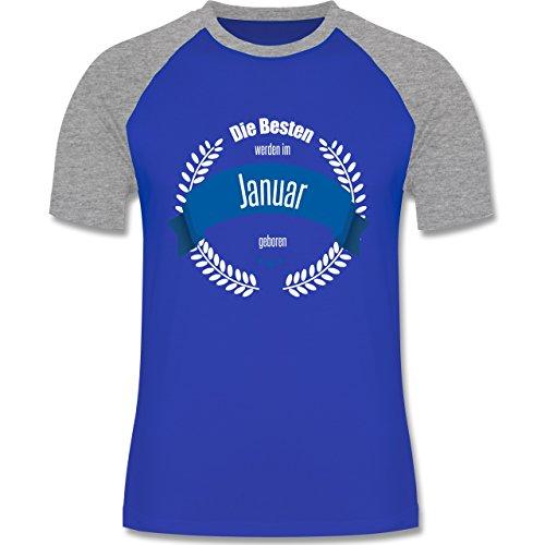 Geburtstag - Die Besten werden im Januar geboren - zweifarbiges Baseballshirt für Männer Royalblau/Grau meliert