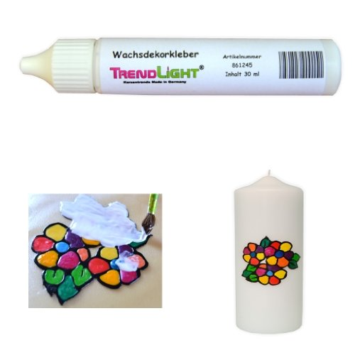TrendLight  Wachsdekorkleber 30 ml Kerzenkleber inkl. ausführlicher Anleitung mit Bilder