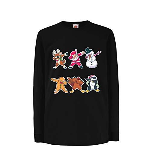 lepni.me Kinder-T-Shirt mit Langen Ärmeln Weihnachts Dab - Dabbing Weihnachtsmann-Rotwild-Schneemann (9-11 Years Schwarz Mehrfarben)
