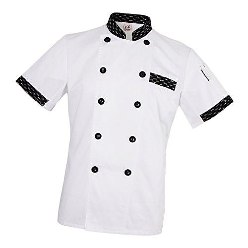 ade96332709 F Fityle Hombres Mujeres Chef Chaqueta De Espina De Pescado Mangas Cortas  Pen Pocket Hotel Chefwear