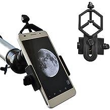 Solo Mark universal adaptador de teléfono y Mount Soporte de trípode para iPhone Sony Samsung Moto–Cámara de catalejo/Telescopio/Microscopio/Binocular