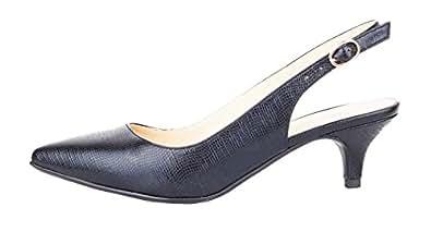 Verocara Women's Kitten Heel Pointed Toe Dress Shoes Cute Sandals Black 3 UK