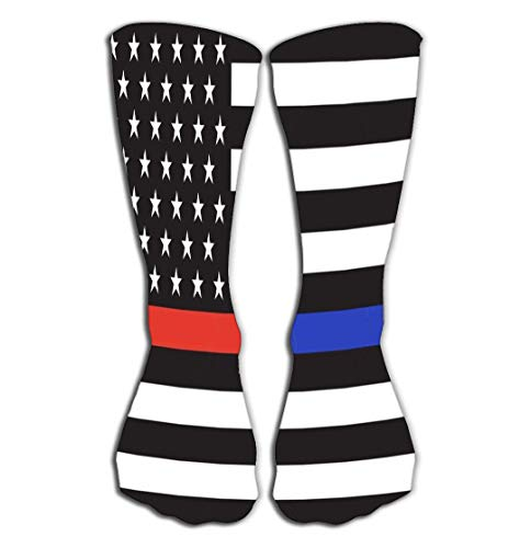 Calcetines altos Men's Cool Colorful Casual Socks 19.7'(50cm) - Novelty Funny Casual Cotton Crew Socks Gift american police fire flag thin blue line red line respect honor law enforcement