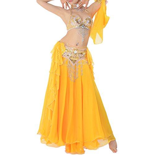 Unbekannt Bauchtanz Frauen Perlen Sequined Chiffon Double-Layer Performance Outfit,Yellow,XL (Teenager Jazz Dance Kostüm)