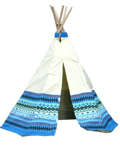 Garden-Games-Limited-Childrens-Aztec-Teepee-Wigwam-Play-Tent-with-Wooden-Frame-and-Natural-Cotton-Canvas-Blue
