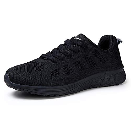 75996d11774bd Womens Running Shoes Lace Up Tennis Shoes Weight Trainers Mesh Walking  Sneakers Fashion Fitness Gym Outdoor Sport Shoes All, All Black, 7 UK