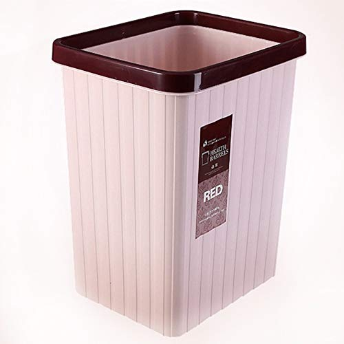 WEWE Ultrafino Abierto Bote De Basura,pequeña Papelera Rectangular Cubo Basura En El Cuarto De Baño Cocina Dormitorio Dormitorio Oficina Comercial-Rosado 19.5x15x25cm(8x6x10inch)