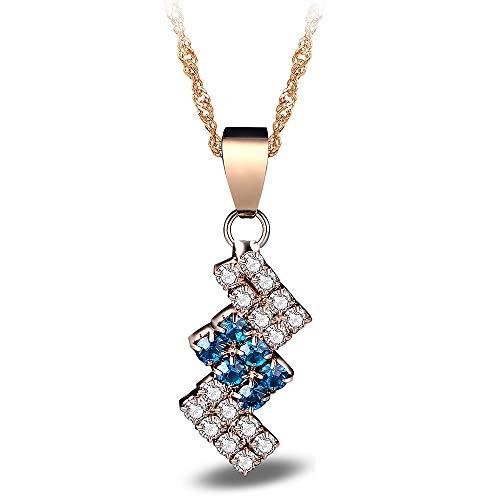 ZOMEBER Mädchen-Halskette 18k Gold überzogene unregelmäßige Geometrie Kristall-hängende Halskette for Frau (Farbe : Blue)
