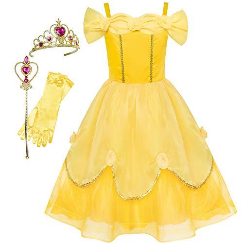 Kostüm Belle Jugendliche Für - Sunboree Mädchen Kleid Belle Kostüm Zubehör Krone Zauber Zauberstab Gr. 134