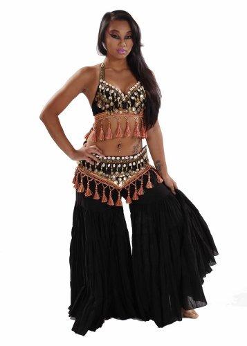 Miss Belly Dance Bauchtanz Tribal Hose, BH und Gürtel Kostüm-Set | Kaurimuschel Cantana Gr. A/B Cup, Black/peach (Machen Bauchtanz-bh)