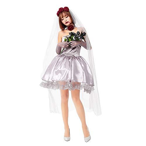 Rose Vampirin Kostüm - Halloween Kostüm Damen Anime Accessoires Karneval Fasching Vampir Rose Braut Kurzer Rock,Rosa,M