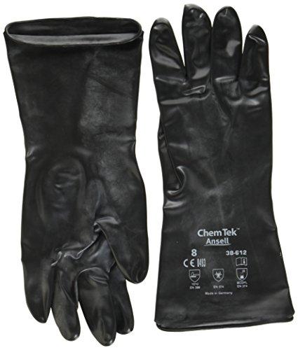 ChemTek Ansell 38-612 / 8 Butyl/Viton Handschuhe, Chemikalien und Flüssigkeitsschutz, Größe 8, Schwarz (12 Paar pro Beutel)