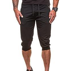Pantalones cortos hombre Verano,Sonnena Casual Streetwear 3/4 longitud Pantalones Color sólido fitness Cintura Elástica Pantalones cortos de Jogging Deportes para hombre