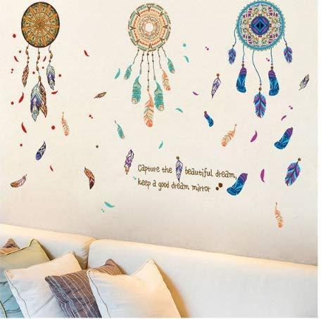 Inicio decoración de la pared pegatinas sofá sala de estar dormitorio porche color viento nacional carillón pluma atrapasueños 90x60cm