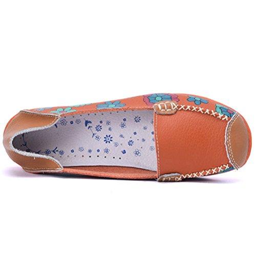 Miagolio Donna Scarpe Stringate Basse Mocassino Flats In Pelle Casuale A Fiore Arancione