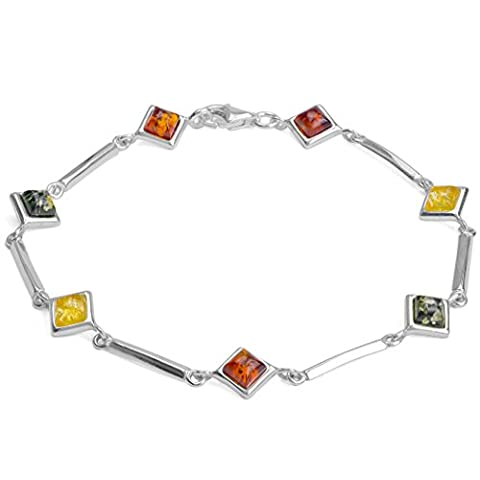 Multicolor Amber Sterling Silver Thin Rhombic Bracelet 19.5