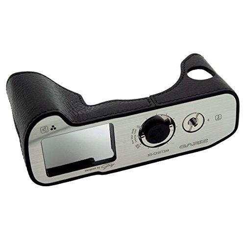 Kameratasche für Fujifilm X-T3 und Fuji X-T2 Kamera | Fototasche aus italienischem Leder | Systemkamera Tasche für Fuji X-T3 und Fujifilm XT2 | Ledertasche: Schwarz | Gariz Design | XS-CHXT2BK