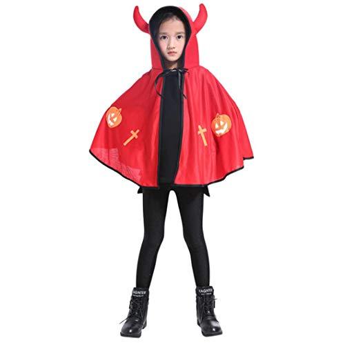Halloween Cosplay Kleidung,Kinder Erwachsene Kinder Baby Kostüm Ochsenhorn Umhang Cape Robe Moginp (ONE Size, (Rote Roben Kostüm)