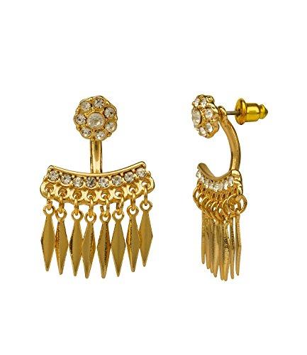 """SIX\""""Party\"""" goldene Doppel Ohrstecker Ohrringe Ear Jackets Vorne Hinten mit Anhänger mit weißen Strasssteinen Spikes Stacheln (462-729)"""