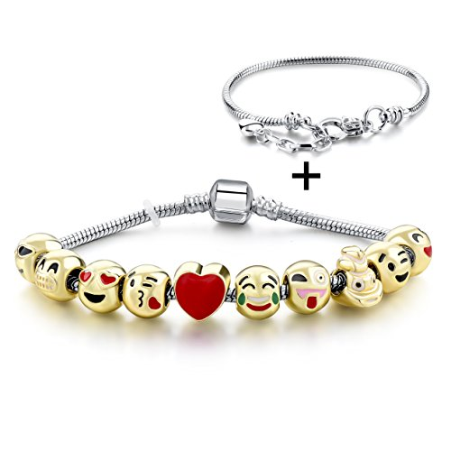 Long Way Emoji-vergoldet Schlange Kette Charms Armband mit 10 Emaille Smiley Faces Perlen und Karabinerverschluss für Damen Herren Geschenk (Gold Schlange Armband)