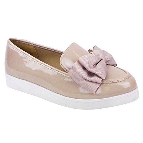 LADIES WOMENS GIRLS FLAT DOLLY DOLLIE BALLET BALLERINA CREEPERS CHUNKY WEDGE PLATFORMS WORK SCHOOL SHOES SIZE (UK 5 / EU 38 / US 7, Nude Patent Faux Leather PU)