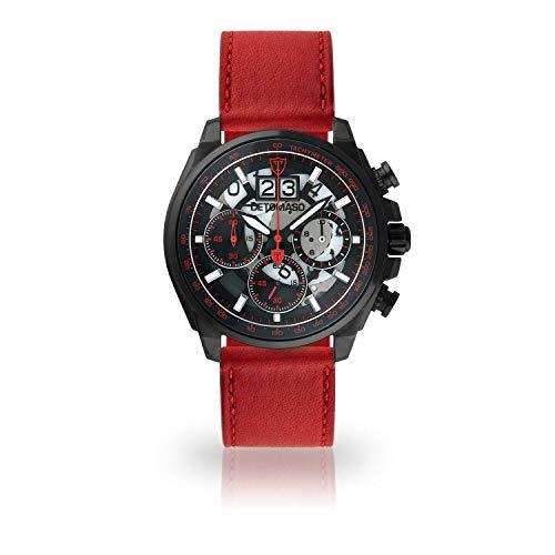 DETOMASO LIVELLO Mens Wristwatch Chronograph Analogue Quartz Dark red Leather Strap Black dial DT2060-B-825
