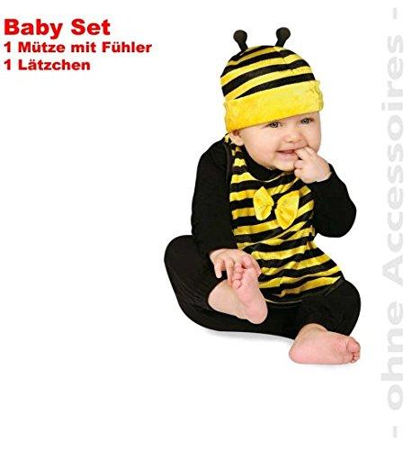 Biene 2tlg Baby-Set Süßes Bienchen Lätzchen + Mütze mit Fühler Bienen Kinder-Kostüm Fasching Gr: 0 - 2 (Kostüme Kinder Biene Für)