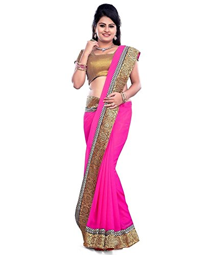 Khushi Arts Pink&Golden Color Georgette Border Work Fashion Saree with Blouse Piece-84SEFB-12007(P)  available at amazon for Rs.749