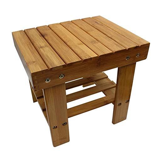 MAOZHE Schuhschrank Kleines Quadrat Hocker, multifunktionale Hocker stabilem Holz Bambus Student waschen Hocker Kinder Hocker Flur Schrank Veranstalter -