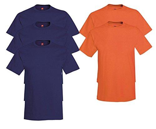 Hanes Men's Tagless Comfortsoft Crewneck T-shirt (Pack of 5) 3 Navy / 2 Orange