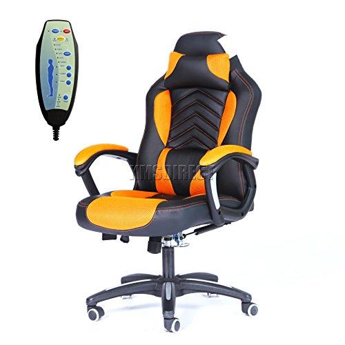 FoxHunter Luxus 6Point Massage Büro Computer Stuhl Liegend Drehgelenk Hohe Rückenlehne MC09Orange und Schwarz New