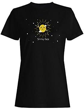 Siempre sonríe divertido smiley nuevo camiseta de las mujeres g546f