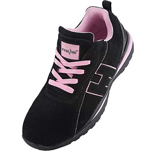 REIS Arbeitsschuhe Sicherheitsschuhe ARGENTINA Schuhe Gr.36-41 Schutzschuhe Damenschuhe Stahlkappe (37), Schwarz-Pink
