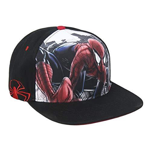 ARTESANIA CERDA Gorra Visera Plana de Spiderman, Negro (Negro Negro), M (Tamaño del Fabricante:56) para Niños