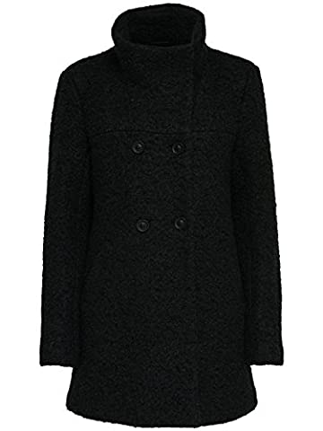 Only Damen Wollmantel Kurzmantel Winterjacke (L, Schwarz)