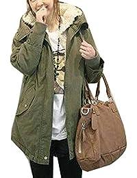 Mujer Parkas Militar Acolchado Largos Abrigos con Capucha Chaquetas Gabardina Verde del Ejército XL