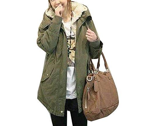 Cappotto donne lungo cappotto parka con cappuccio giubbino hoodie outerwear esercito verde m