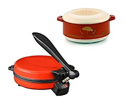 GTC COMBO OF EAGLE RED DETACHABLE ROTI MAKER WITH CASSEROLE