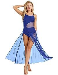 MSemis Femme Robe de Ballet Justaucorps de Danse Gym Split Robe Bretelles  Maille Tutu Body de 047e0be5276