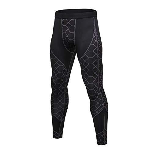 Hankyky Herren 3/4 Sport Tights Leggings Schnell Trocken Yoga Workout Laufen Fitness Strumpfhose (C, Small)