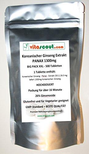 500 Tabletten Koreanischer Ginseng - PANAX Extrakt - 1300mg - HOCHDOSIERT - PN: 010257
