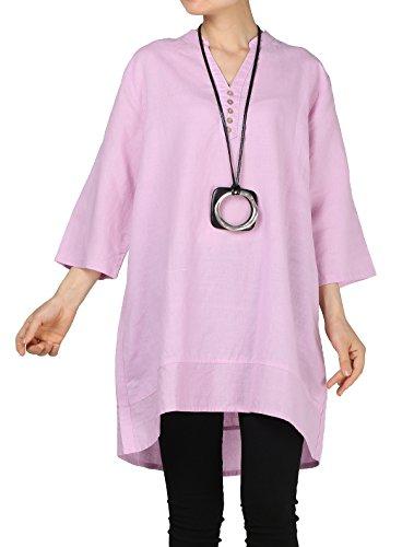 Vogstyle Damen Neue Leinen V-Ausschnitt Unifarben Tunika Pullover Tops Hellpurpur