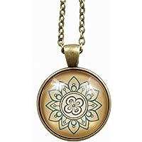 Halskette - Gliederkette 75cm - bronzefarbend - Cabochon 25mm Anhänger - Mandala Motiv - ocker petrol