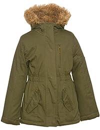 Urban Republic Little Girls Olive Zipper Detail Faux Fur Hood Coat 4-6X